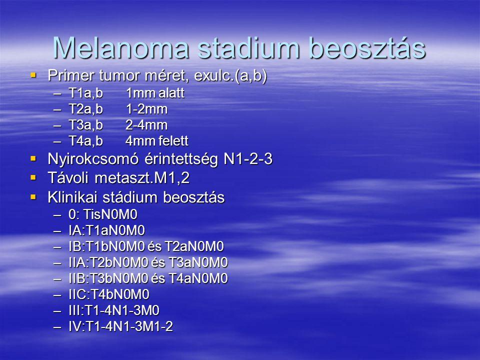 Melanoma stadium beosztás  Primer tumor méret, exulc.(a,b) –T1a,b1mm alatt –T2a,b1-2mm –T3a,b2-4mm –T4a,b4mm felett  Nyirokcsomó érintettség N1-2-3  Távoli metaszt.M1,2  Klinikai stádium beosztás –0: TisN0M0 –IA:T1aN0M0 –IB:T1bN0M0 és T2aN0M0 –IIA:T2bN0M0 és T3aN0M0 –IIB:T3bN0M0 és T4aN0M0 –IIC:T4bN0M0 –III:T1-4N1-3M0 –IV:T1-4N1-3M1-2