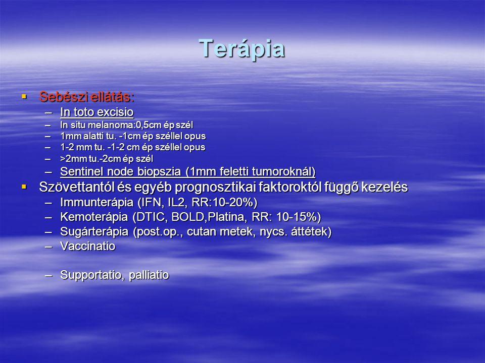 Terápia  Sebészi ellátás: –In toto excisio –In situ melanoma:0,5cm ép szél –1mm alatti tu. -1cm ép széllel opus –1-2 mm tu. -1-2 cm ép széllel opus –