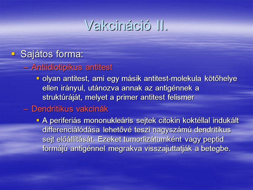 Vakcináció II.  Sajátos forma: –Antiidiotipikus antitest  olyan antitest, ami egy másik antitest-molekula kötőhelye ellen irányul, utánozva annak az