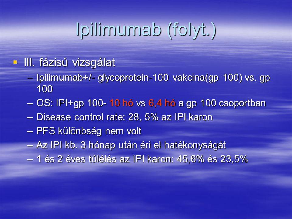 Ipilimumab (folyt.)  III. fázisú vizsgálat –Ipilimumab+/- glycoprotein-100 vakcina(gp 100) vs. gp 100 –OS: IPI+gp 100- 10 hó vs 6,4 hó a gp 100 csopo