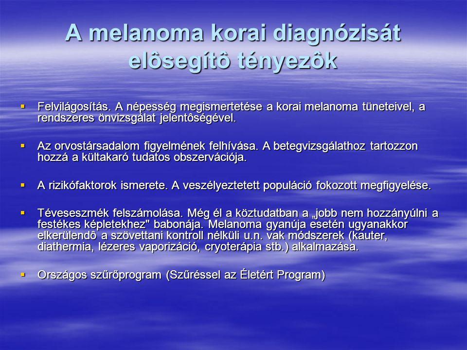 A melanoma korai diagnózisát elôsegítô tényezôk  Felvilágosítás. A népesség megismertetése a korai melanoma tüneteivel, a rendszeres önvizsgálat jele