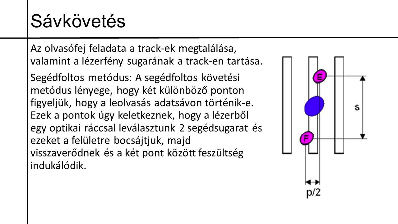 Sávkövetés Az olvasófej feladata a track-ek megtalálása, valamint a lézerfény sugarának a track-en tartása. Segédfoltos metódus: A segédfoltos követés