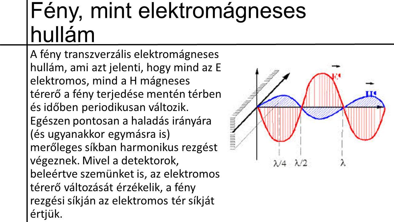Fény, mint elektromágneses hullám A fény transzverzális elektromágneses hullám, ami azt jelenti, hogy mind az E elektromos, mind a H mágneses térerő a