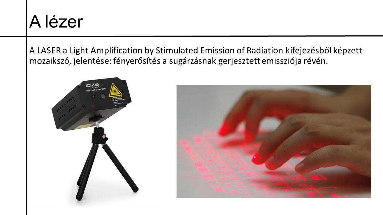 A lézer A LASER a Light Amplification by Stimulated Emission of Radiation kifejezésből képzett mozaikszó, jelentése: fényerősítés a sugárzásnak gerjes