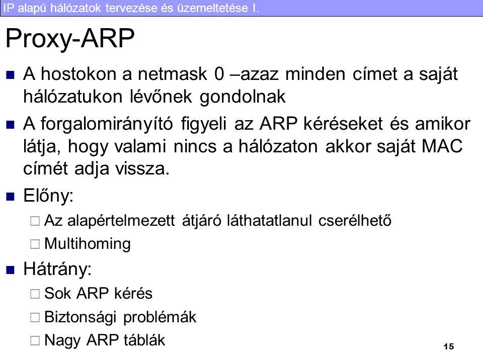 IP alapú hálózatok tervezése és üzemeltetése I. 15 Proxy-ARP A hostokon a netmask 0 –azaz minden címet a saját hálózatukon lévőnek gondolnak A forgalo