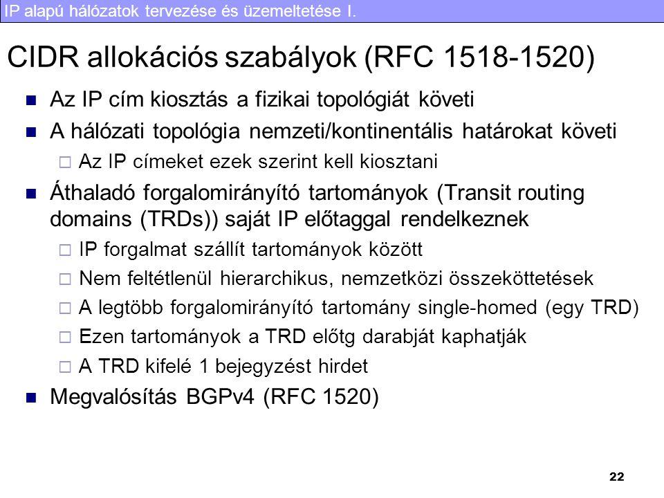 IP alapú hálózatok tervezése és üzemeltetése I. 22 CIDR allokációs szabályok (RFC 1518-1520) Az IP cím kiosztás a fizikai topológiát követi A hálózati