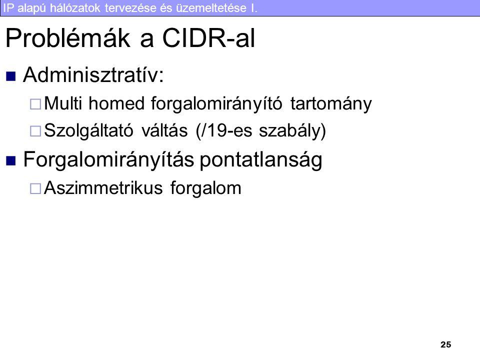 IP alapú hálózatok tervezése és üzemeltetése I. 25 Problémák a CIDR-al Adminisztratív:  Multi homed forgalomirányító tartomány  Szolgáltató váltás (