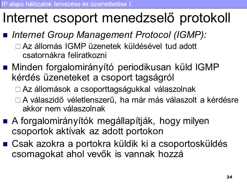 IP alapú hálózatok tervezése és üzemeltetése I. 34 Internet csoport menedzselő protokoll Internet Group Management Protocol (IGMP):  Az állomás IGMP