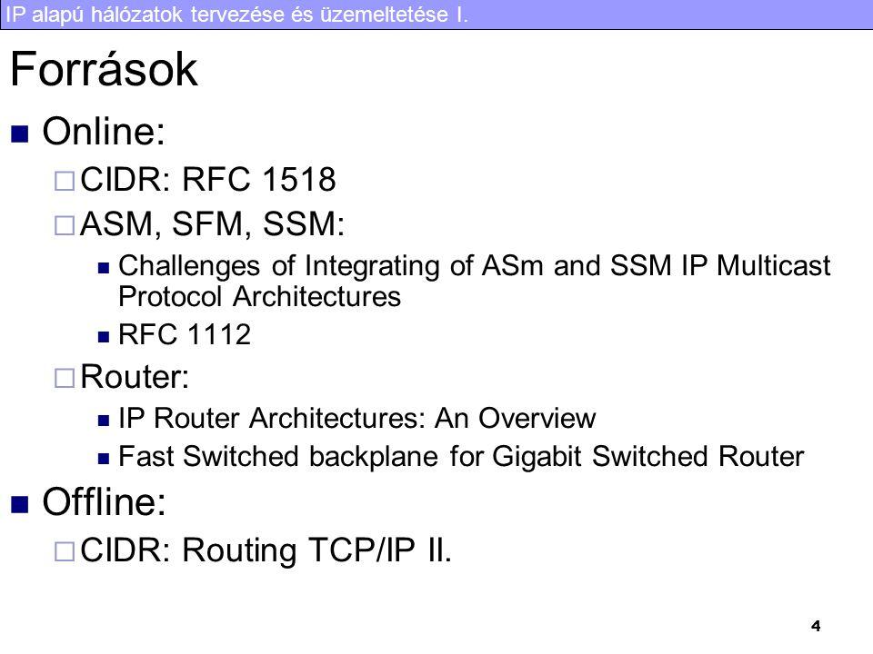 IP alapú hálózatok tervezése és üzemeltetése I. 4 Források Online:  CIDR: RFC 1518  ASM, SFM, SSM: Challenges of Integrating of ASm and SSM IP Multi