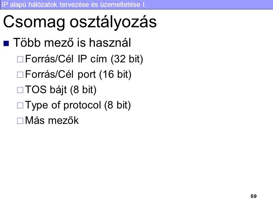 IP alapú hálózatok tervezése és üzemeltetése I. 59 Csomag osztályozás Több mező is használ  Forrás/Cél IP cím (32 bit)  Forrás/Cél port (16 bit)  T