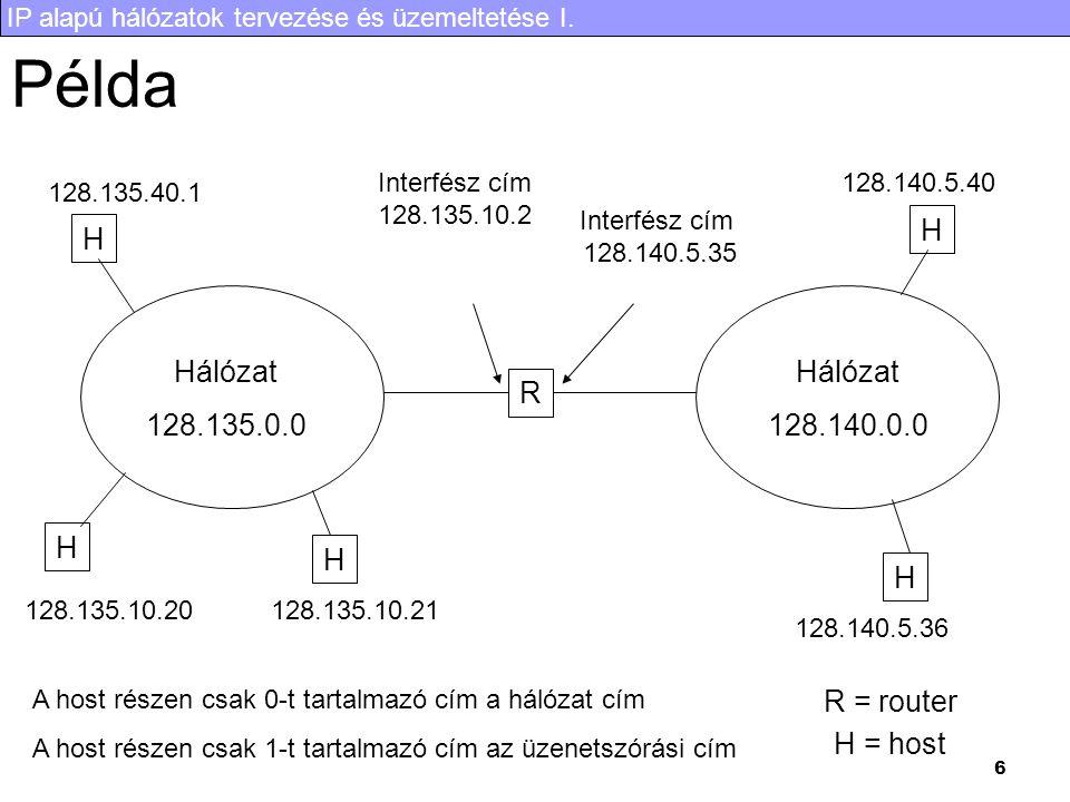 IP alapú hálózatok tervezése és üzemeltetése I. 6 Példa R Hálózat 128.135.0.0 Hálózat 128.140.0.0 H H H H H R = router H = host Interfész cím 128.135.