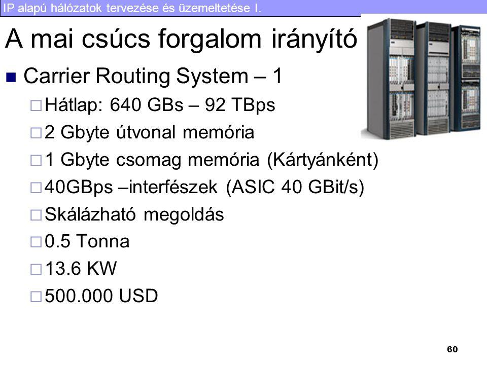 IP alapú hálózatok tervezése és üzemeltetése I. 60 A mai csúcs forgalom irányító Carrier Routing System – 1  Hátlap: 640 GBs – 92 TBps  2 Gbyte útvo