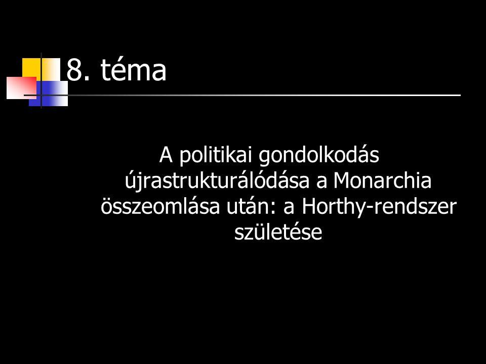 8. téma A politikai gondolkodás újrastrukturálódása a Monarchia összeomlása után: a Horthy-rendszer születése