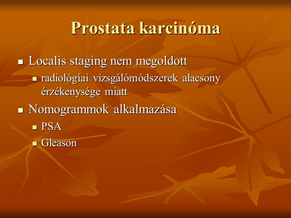 Prostata karcinóma Localis staging nem megoldott Localis staging nem megoldott radiológiai vizsgálómódszerek alacsony érzékenysége miatt radiológiai v