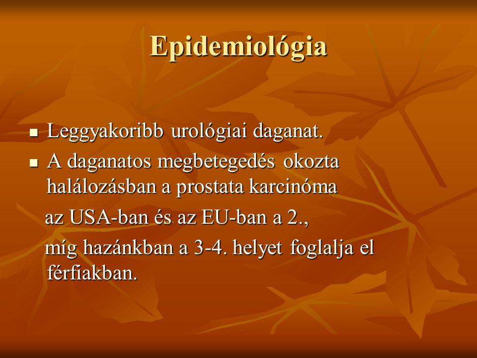 Epidemiológia Leggyakoribb urológiai daganat. Leggyakoribb urológiai daganat. A daganatos megbetegedés okozta halálozásban a prostata karcinóma A daga