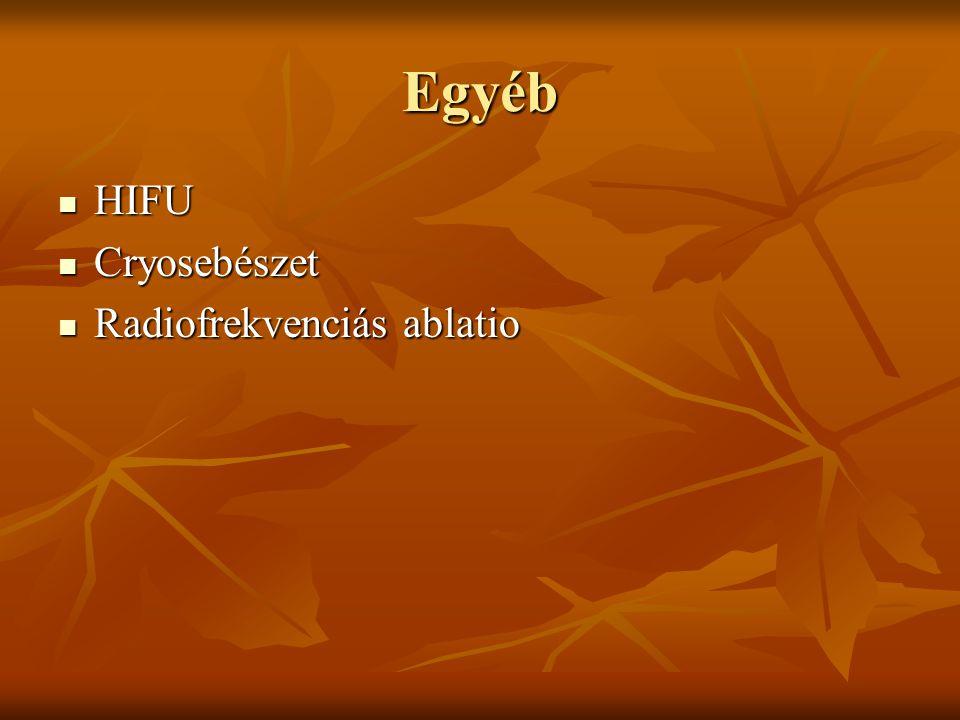 Egyéb HIFU HIFU Cryosebészet Cryosebészet Radiofrekvenciás ablatio Radiofrekvenciás ablatio