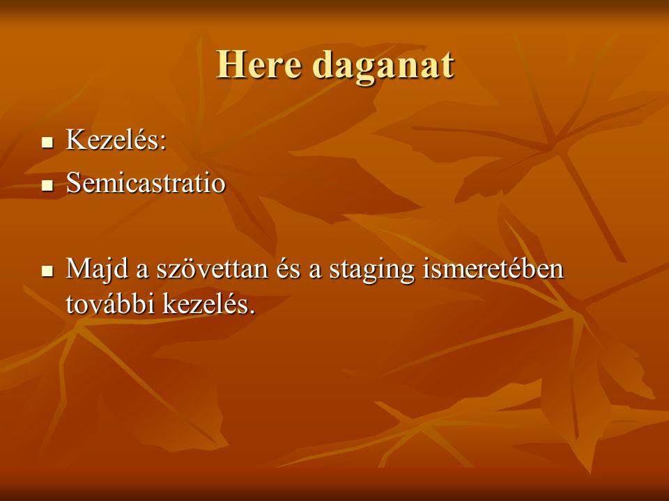 Here daganat Kezelés: Kezelés: Semicastratio Semicastratio Majd a szövettan és a staging ismeretében további kezelés. Majd a szövettan és a staging is