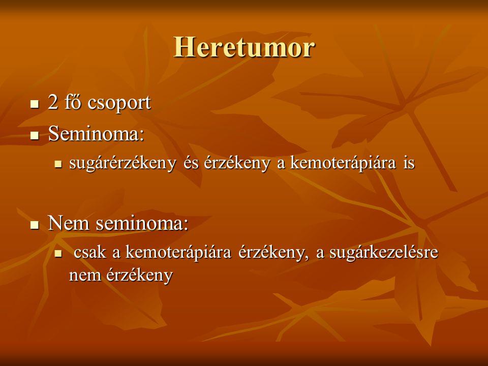 Heretumor 2 fő csoport 2 fő csoport Seminoma: Seminoma: sugárérzékeny és érzékeny a kemoterápiára is sugárérzékeny és érzékeny a kemoterápiára is Nem