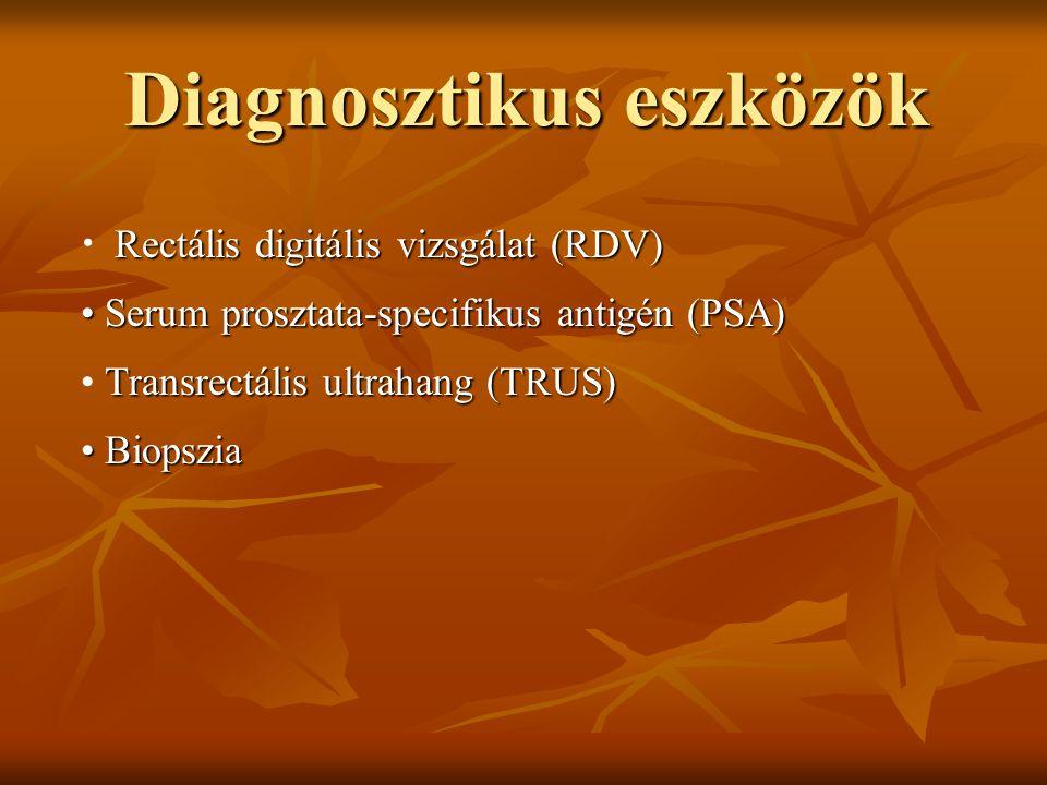 Diagnosztikus eszközök Rectális digitális vizsgálat (RDV) Serum prosztata-specifikus antigén (PSA) Serum prosztata-specifikus antigén (PSA) Transrectá