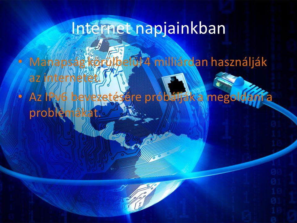 Internet napjainkban Manapság körülbelül 4 milliárdan használják az internetet.