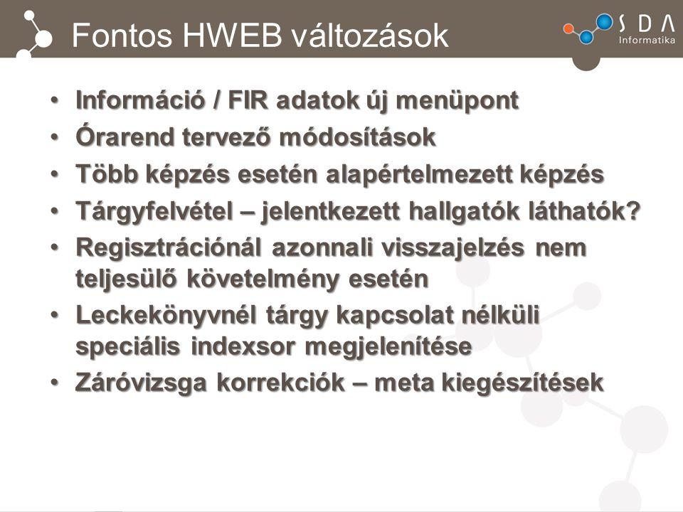 Fontos HWEB változások Információ / FIR adatok új menüpontInformáció / FIR adatok új menüpont Órarend tervező módosításokÓrarend tervező módosítások T