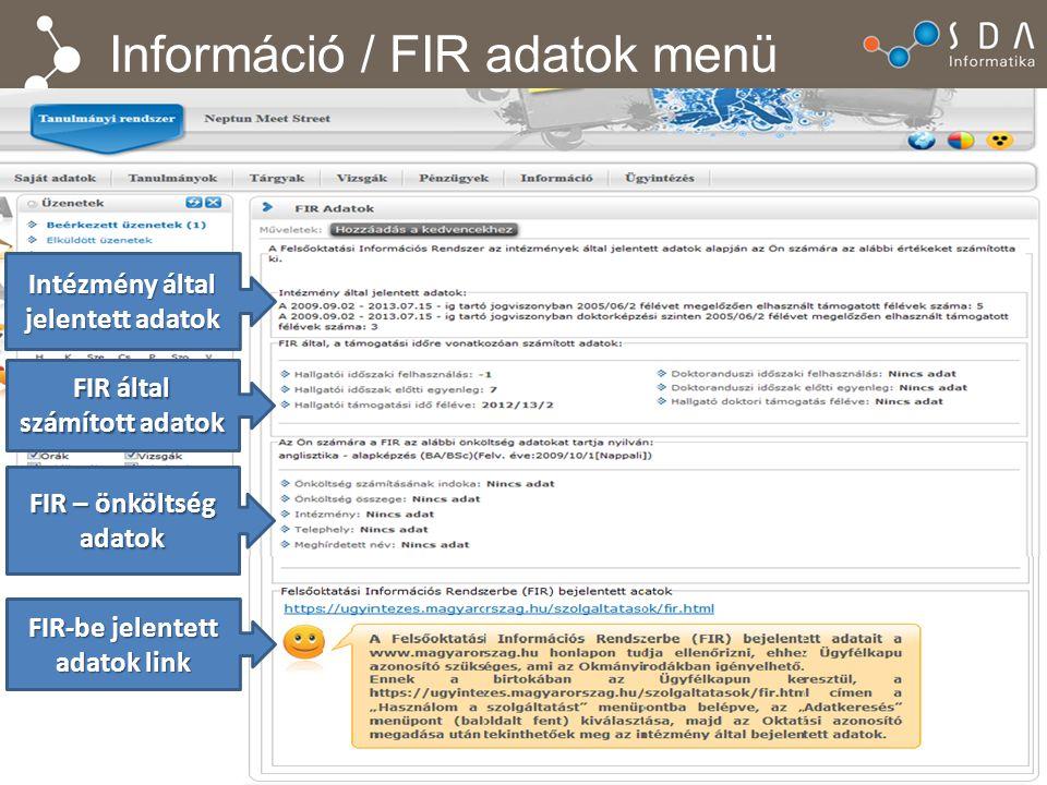 Információ / FIR adatok menü Intézmény által jelentett adatok FIR által számított adatok FIR – önköltség adatok FIR-be jelentett adatok link