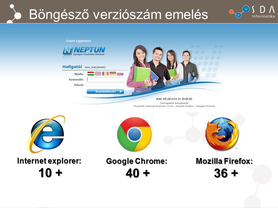 Böngésző verziószám emelés Internet explorer: 10 + 10 + Google Chrome: 40 + 40 + Mozilla Firefox: 36 + 36 +