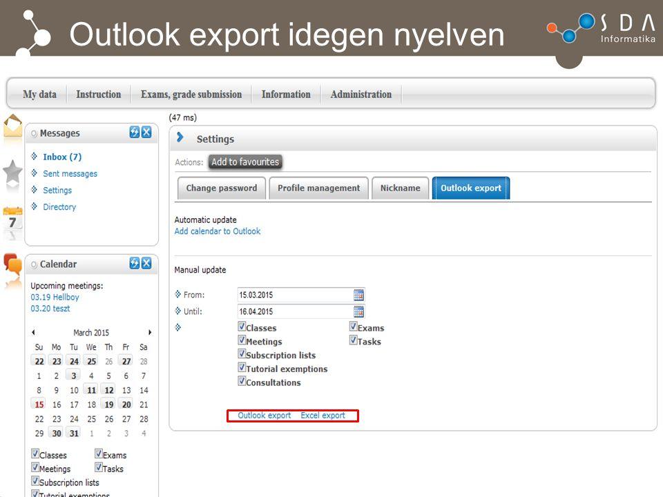 Outlook export idegen nyelven