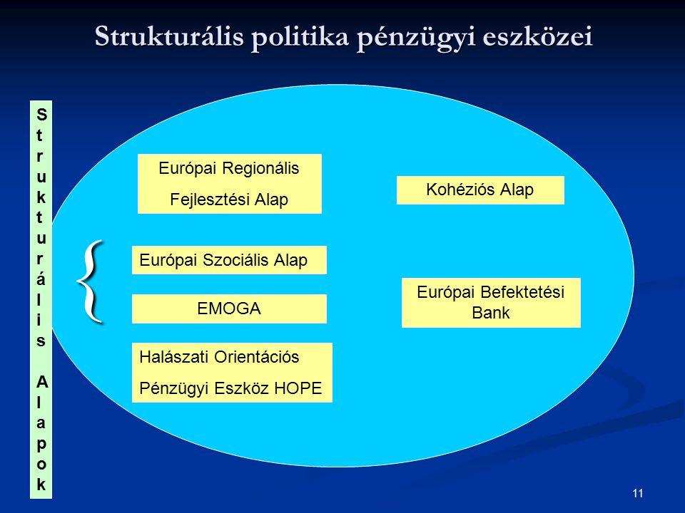 11 Strukturális politika pénzügyi eszközei { Európai Regionális Fejlesztési Alap Európai Szociális Alap EMOGA Halászati Orientációs Pénzügyi Eszköz HO