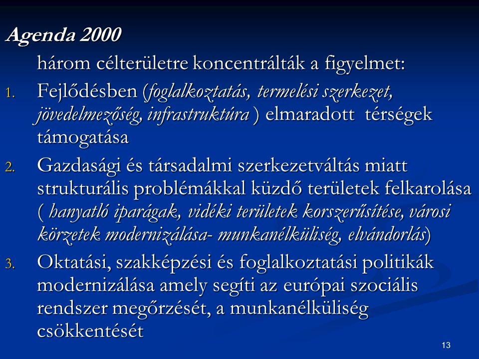 13 Agenda 2000 három célterületre koncentrálták a figyelmet: 1. Fejlődésben (foglalkoztatás, termelési szerkezet, jövedelmezőség, infrastruktúra ) elm
