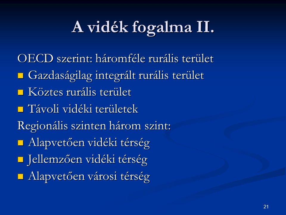 21 A vidék fogalma II. OECD szerint: háromféle rurális terület Gazdaságilag integrált rurális terület Gazdaságilag integrált rurális terület Köztes ru