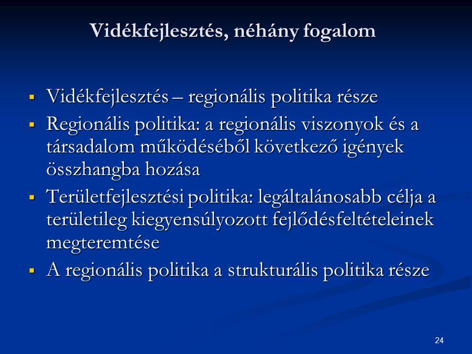 24 Vidékfejlesztés, néhány fogalom  Vidékfejlesztés – regionális politika része  Regionális politika: a regionális viszonyok és a társadalom működés