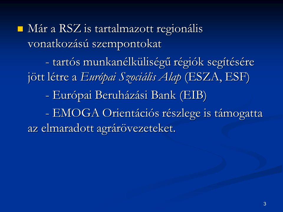 3 Már a RSZ is tartalmazott regionális vonatkozású szempontokat Már a RSZ is tartalmazott regionális vonatkozású szempontokat - tartós munkanélküliség
