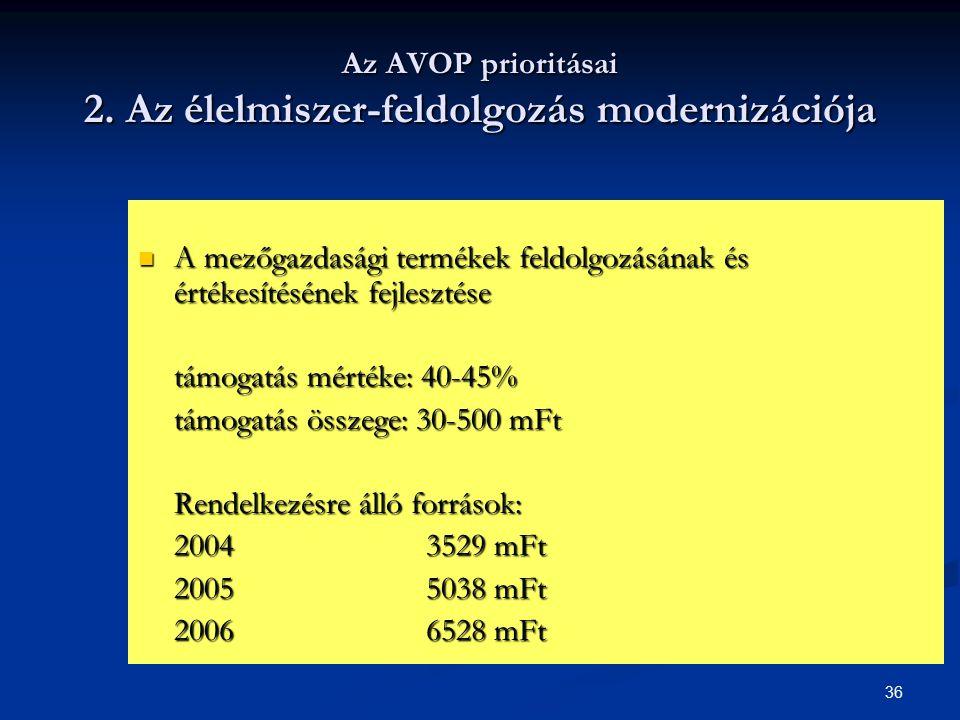 36 Az AVOP prioritásai 2. Az élelmiszer-feldolgozás modernizációja A mezőgazdasági termékek feldolgozásának és értékesítésének fejlesztése A mezőgazda