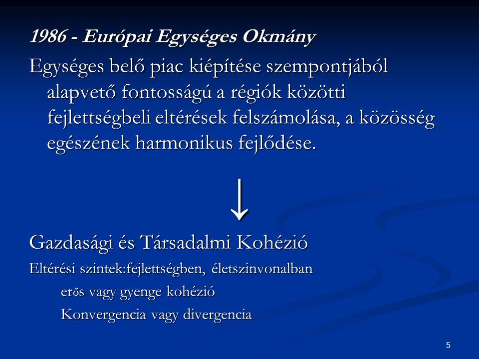 5 1986 - Európai Egységes Okmány Egységes belő piac kiépítése szempontjából alapvető fontosságú a régiók közötti fejlettségbeli eltérések felszámolása