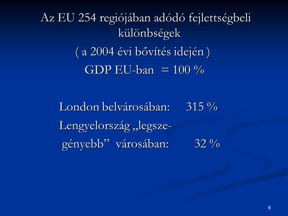 6 Az EU 254 regiójában adódó fejlettségbeli különbségek Az EU 254 regiójában adódó fejlettségbeli különbségek ( a 2004 évi bővítés idején ) ( a 2004 é
