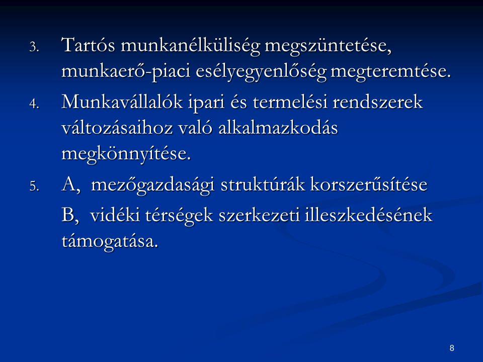 8 3. Tartós munkanélküliség megszüntetése, munkaerő-piaci esélyegyenlőség megteremtése. 4. Munkavállalók ipari és termelési rendszerek változásaihoz v