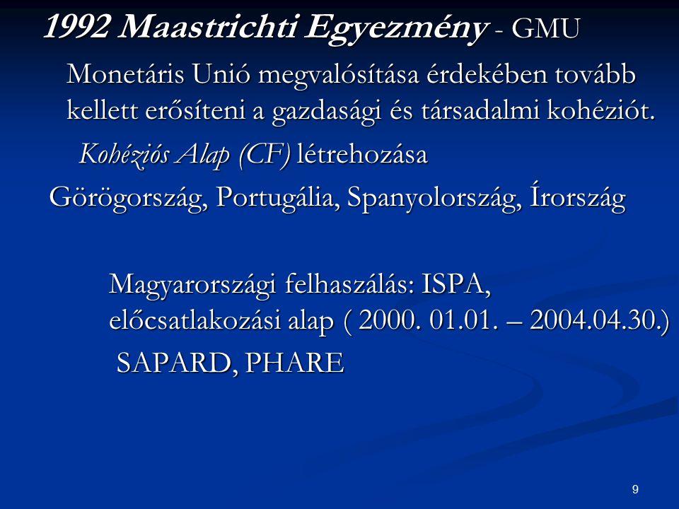 9 1992 Maastrichti Egyezmény - GMU Monetáris Unió megvalósítása érdekében tovább kellett erősíteni a gazdasági és társadalmi kohéziót. Kohéziós Alap (