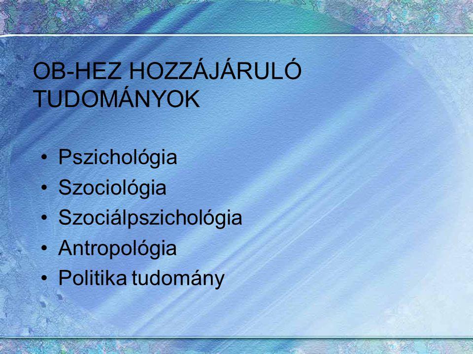 OB-HEZ HOZZÁJÁRULÓ TUDOMÁNYOK Pszichológia Szociológia Szociálpszichológia Antropológia Politika tudomány