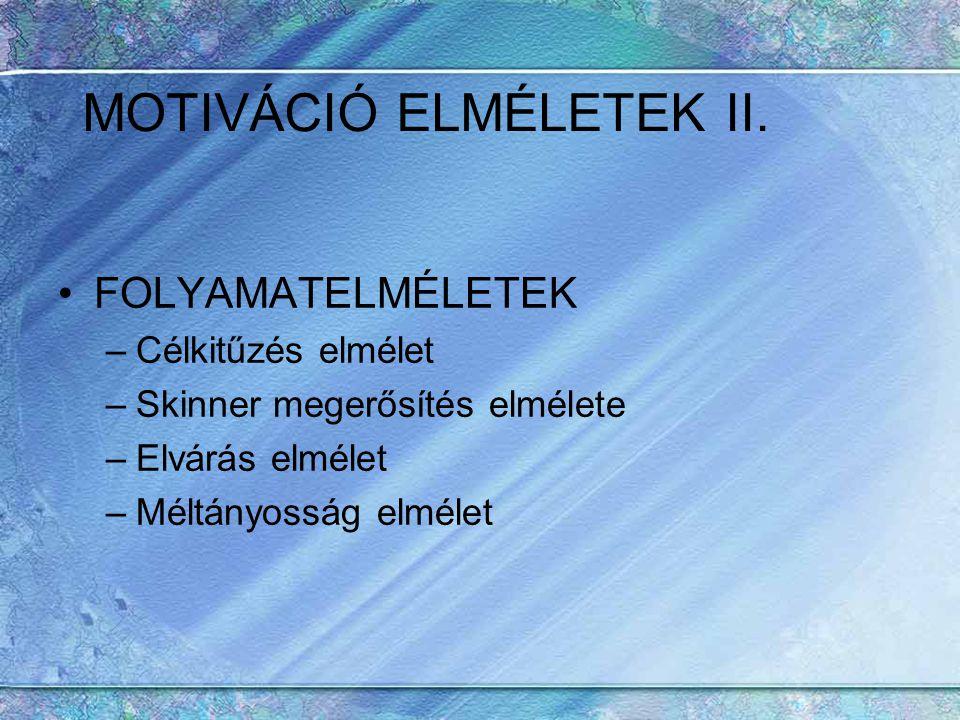 MOTIVÁCIÓ ELMÉLETEK II. FOLYAMATELMÉLETEK –Célkitűzés elmélet –Skinner megerősítés elmélete –Elvárás elmélet –Méltányosság elmélet