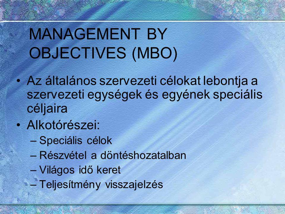 MANAGEMENT BY OBJECTIVES (MBO) Az általános szervezeti célokat lebontja a szervezeti egységek és egyének speciális céljaira Alkotórészei: –Speciális c