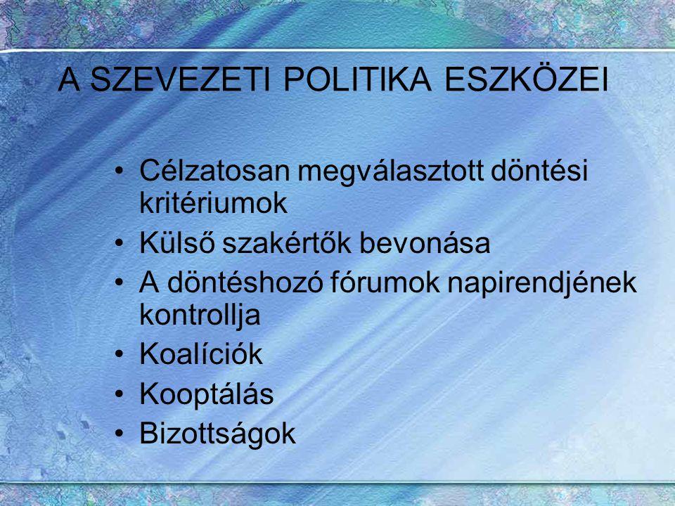 A SZEVEZETI POLITIKA ESZKÖZEI Célzatosan megválasztott döntési kritériumok Külső szakértők bevonása A döntéshozó fórumok napirendjének kontrollja Koal