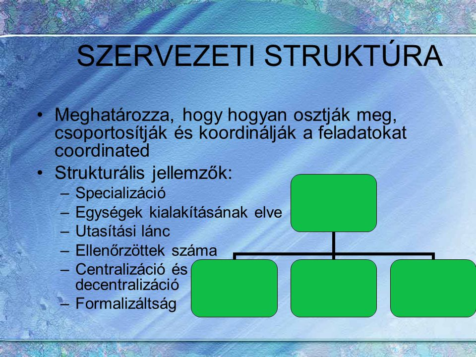 SZERVEZETI STRUKTÚRA Meghatározza, hogy hogyan osztják meg, csoportosítják és koordinálják a feladatokat coordinated Strukturális jellemzők: –Speciali