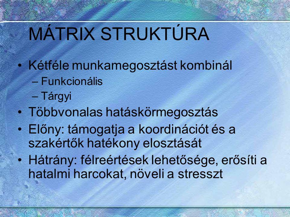MÁTRIX STRUKTÚRA Kétféle munkamegosztást kombinál –Funkcionális –Tárgyi Többvonalas hatáskörmegosztás Előny: támogatja a koordinációt és a szakértők h