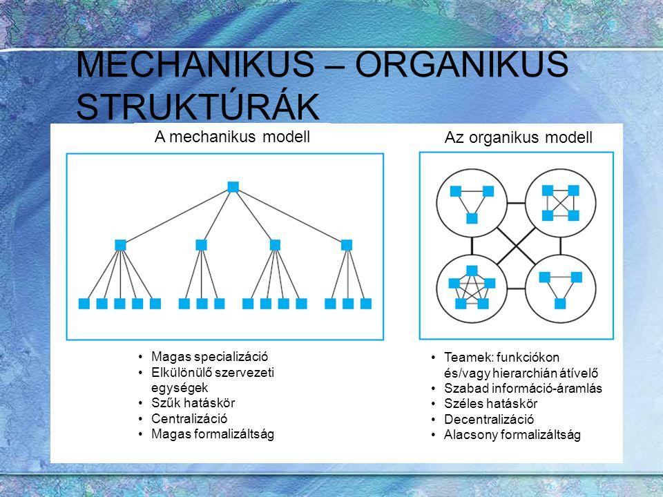 MECHANIKUS – ORGANIKUS STRUKTÚRÁK A mechanikus modell Az organikus modell Teamek: funkciókon és/vagy hierarchián átívelő Szabad információ-áramlás Szé