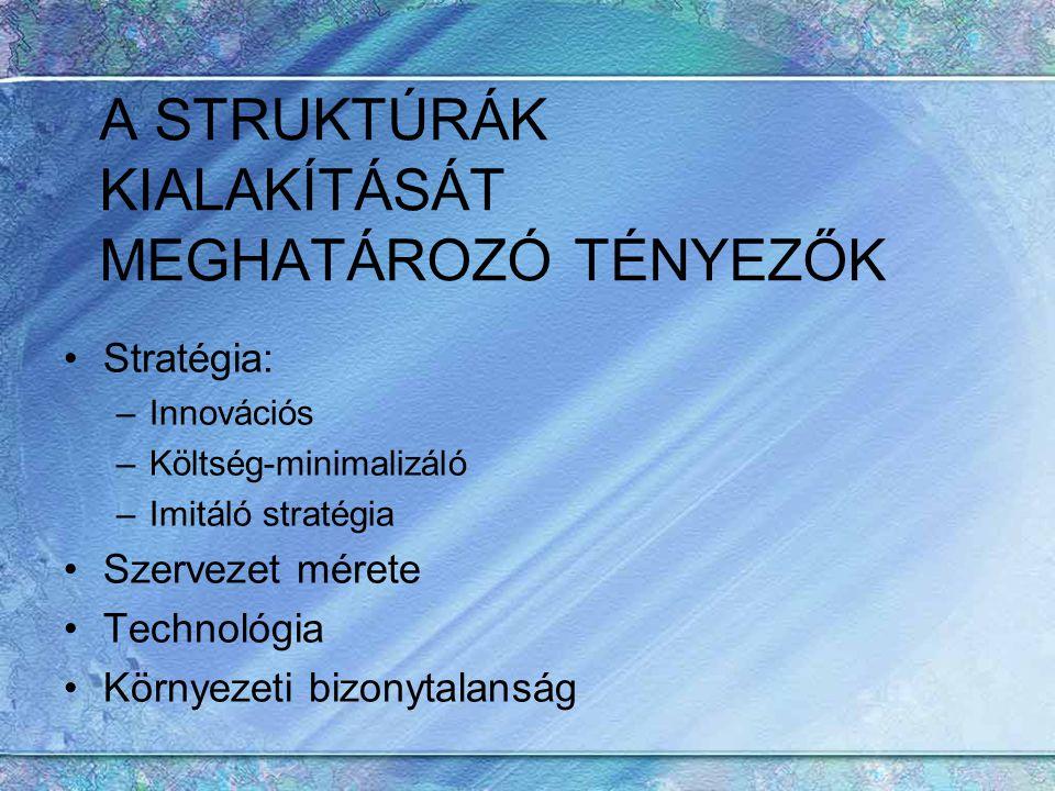 A STRUKTÚRÁK KIALAKÍTÁSÁT MEGHATÁROZÓ TÉNYEZŐK Stratégia: –Innovációs –Költség-minimalizáló –Imitáló stratégia Szervezet mérete Technológia Környezeti