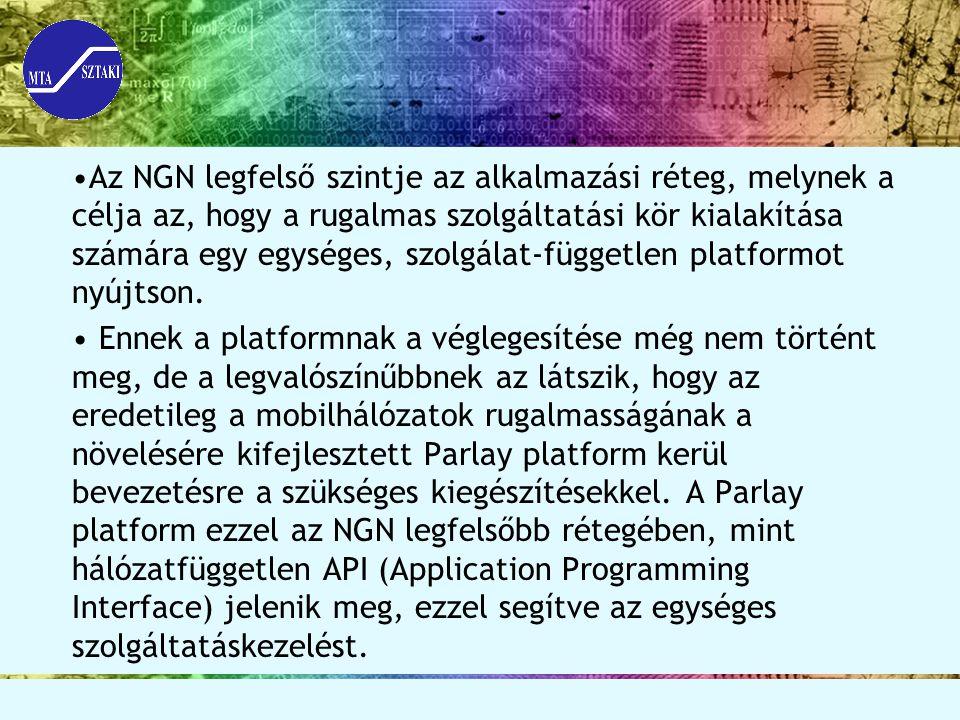 Az NGN legfelső szintje az alkalmazási réteg, melynek a célja az, hogy a rugalmas szolgáltatási kör kialakítása számára egy egységes, szolgálat-független platformot nyújtson.