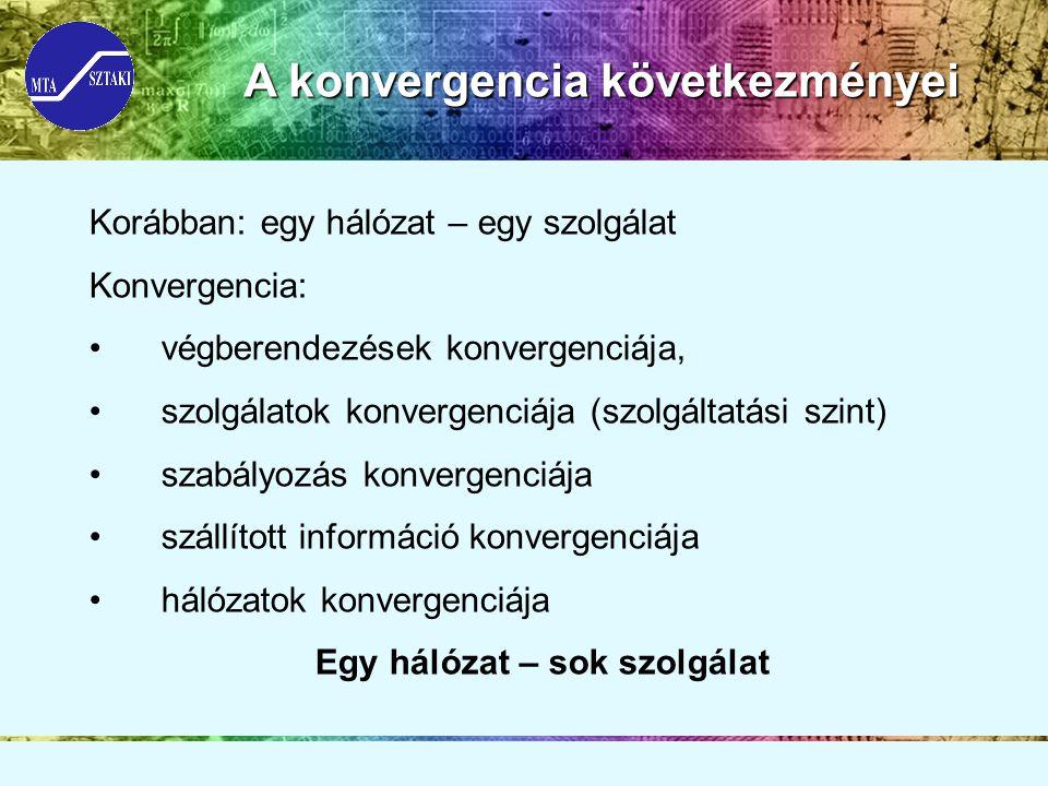 A konvergencia következményei Korábban: egy hálózat – egy szolgálat Konvergencia: végberendezések konvergenciája, szolgálatok konvergenciája (szolgáltatási szint) szabályozás konvergenciája szállított információ konvergenciája hálózatok konvergenciája Egy hálózat – sok szolgálat
