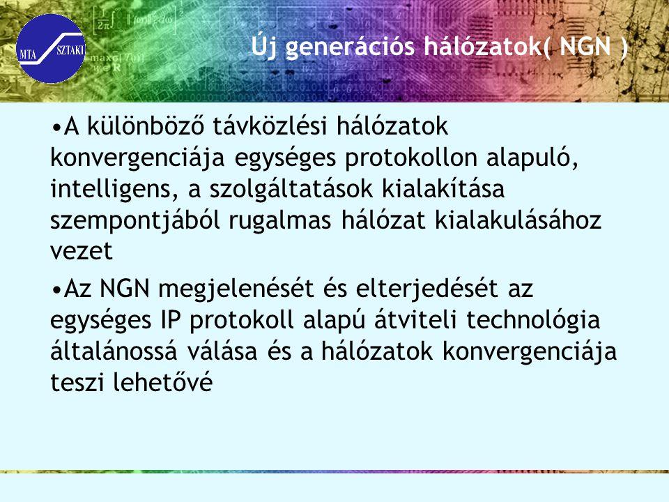 Új generációs hálózatok( NGN ) A különböző távközlési hálózatok konvergenciája egységes protokollon alapuló, intelligens, a szolgáltatások kialakítása szempontjából rugalmas hálózat kialakulásához vezet Az NGN megjelenését és elterjedését az egységes IP protokoll alapú átviteli technológia általánossá válása és a hálózatok konvergenciája teszi lehetővé
