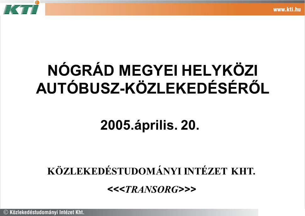 NÓGRÁD MEGYEI HELYKÖZI AUTÓBUSZ-KÖZLEKEDÉSÉRŐL 2005.április. 20. KÖZLEKEDÉSTUDOMÁNYI INTÉZET KHT. >>